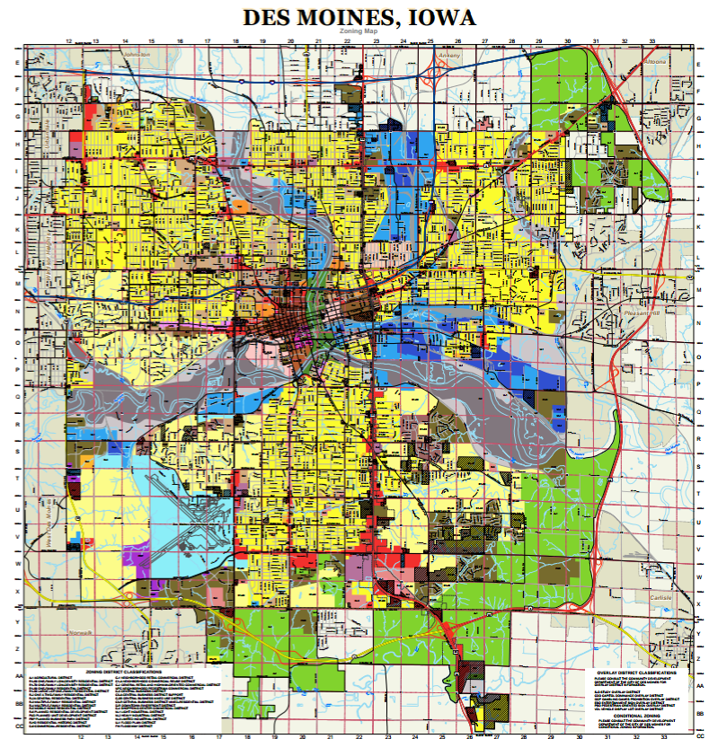 look at the zoning map of Des Moines . In this particular zoning map ...